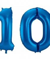 Blauwe folie ballonnen 10 jaar