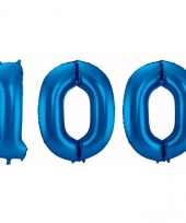 Blauwe folie ballonnen 100 jaar
