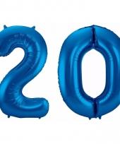 Blauwe folie ballonnen 20 jaar