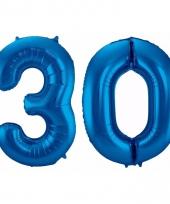 Blauwe folie ballonnen 30 jaar