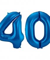 Blauwe folie ballonnen 40 jaar