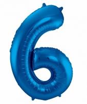 Blauwe folie ballonnen 6 jaar 10089581