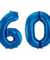 Blauwe folie ballonnen 60 jaar