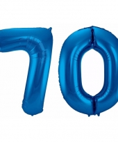 Blauwe folie ballonnen 70 jaar