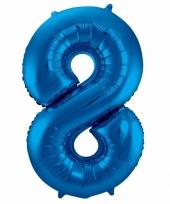 Blauwe folie ballonnen 8 jaar 10089583