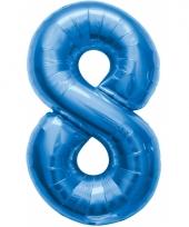Blauwe folie ballonnen 8 jaar
