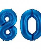Blauwe folie ballonnen 80 jaar