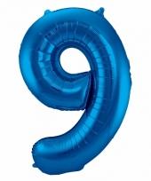 Blauwe folie ballonnen 9 jaar 10089584