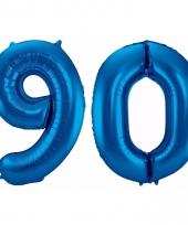 Blauwe folie ballonnen 90 jaar