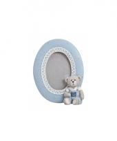 Blauwe fotolijst decoratie beer 14 cm