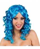 Blauwe glamour damespruik golvend haar