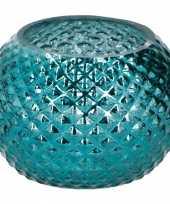 Blauwe glazen waxinelichthouder rond