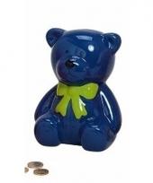 Blauwe kinder teddybeer spaarpot