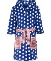 Blauwe kinderbadjas met stippen