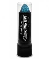 Blauwe lippenstift met glitters
