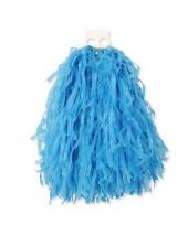 Blauwe pompoms 28 cm