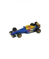 Blauwe race auto formule 1 model auto