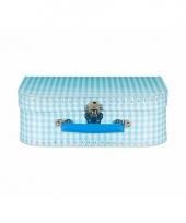 Blauwe speelgoed koffer met witte ruitjes 25 cm