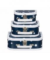 Blauwe speelgoed koffer met witte sterren 20 cm