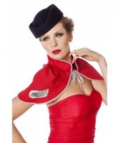 Blauwe stewardess hoed