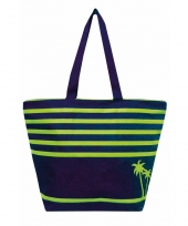 Blauwe strand tas bahia palm 58 cm