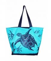 Blauwe strand tas turtle 58 cm