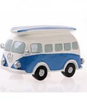 Blauwe volkswagen t1 bus spaarpot