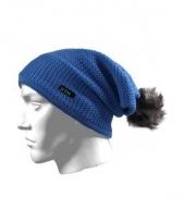 Blauwe wintermuts met pompon