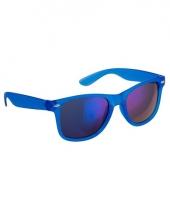 Blauwe zonnebril met spiegelglas