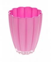 Bloemvorm vaas roze glas 17 cm