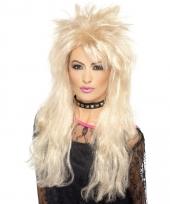 Blonde 80s pruik synthetisch voor dames