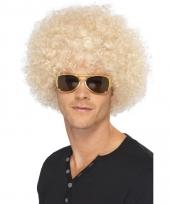 Blonde afro pruik synthetisch voor heren