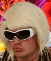 Blonde bobline herenpruik d j