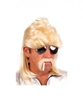 Blonde heren pruik met matje