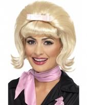 Blonde jaren 50 pruik met roze strik