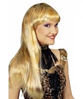 Blonde lange pruik met highlights