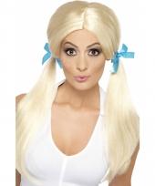Blonde pruik met staartjes voor dames