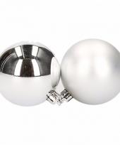 Box met zilveren kerstballen 6 cm 12 stuks