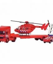 Brandweer set auto helikopter vrachtwagen 26 cm
