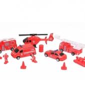 Brandweerwagens boot en brandweermannen set