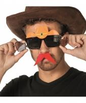 Bril met snor en cowboyhoed