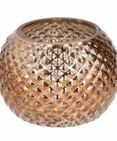 Bronzen glazen waxinelichthouder rond