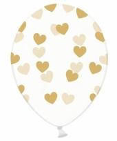 Bruiloft ballonnen gouden hartjes 6 x