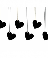 Bruiloft bedankjes labels zwarte hartjes