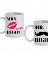 Bruiloft cadeau beker mokken set mr mrs right