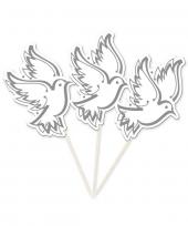 Bruiloft cocktailprikkers witte duiven