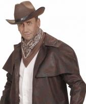 Bruin cowboy sjaaltje wilde westen thema 55 x 55 cm