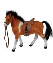 Bruin speelgoed paard met zadel 23 cm