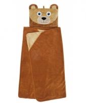 Bruine beer fleece deken voor in de auto