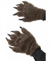 Bruine beer handschoenen met haar